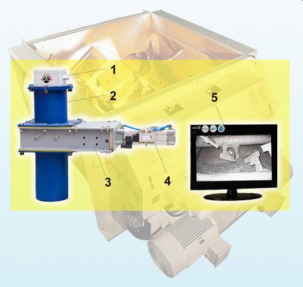 Схема системы визуального контроля процесса смешивания в бетоносмесителе