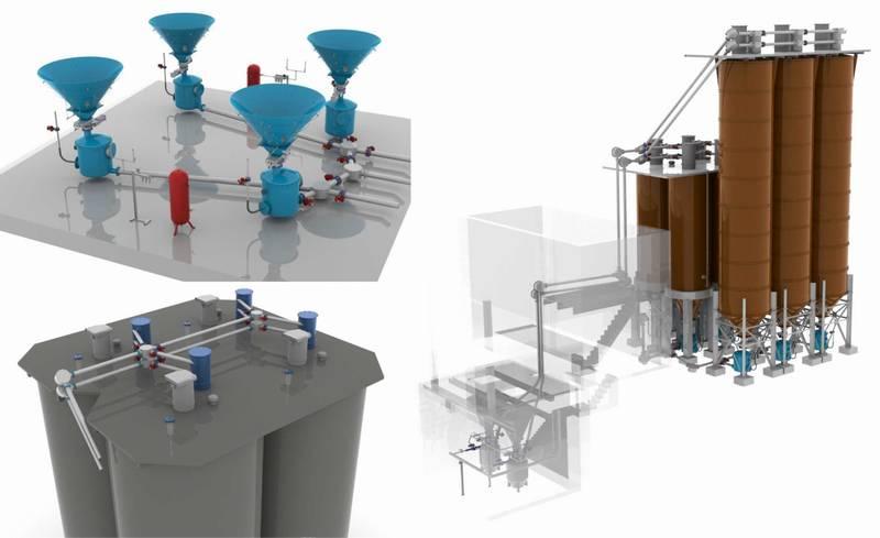 Примеры проектирования специалистами ГК «Элтикон» решений в области пневмотранспортировки, аспирации и аэрации складов цемента