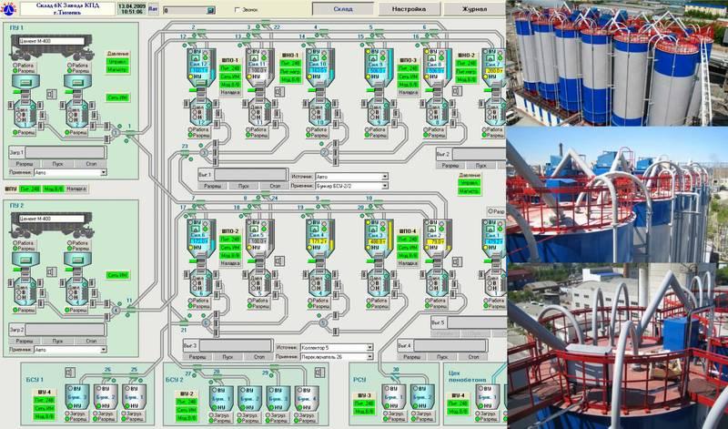 Пример мнемосхемы АСУ ТП склада цемента емкостью 6000 тонн, ТДСК г. Тюмень и соответствующего объекта
